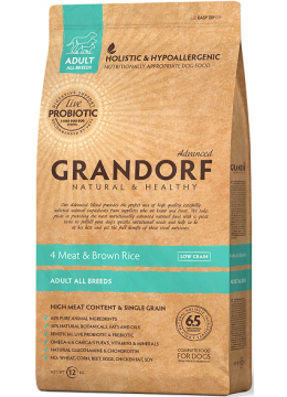 Grandorf 4 Meat & Brown Rice Adult All Breeds с пробиотиками