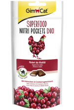 GimCat Superfood Nutri Pockets лакомство с курицей и клюквой