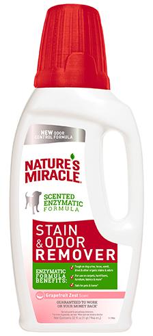 8in1 680258/8109 8in1 Nature's Miracle Stain & Odor Remover Уничтожитель собачьих пятен и запахов с ароматом грейпфрута, 946 мл