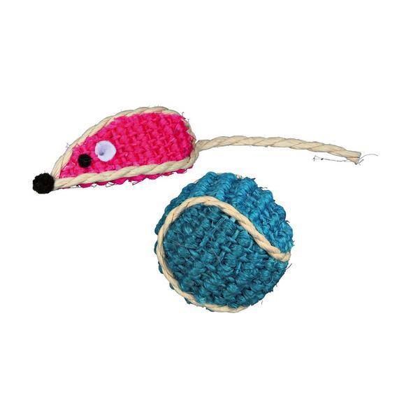 trixie 40760 Trixie Мячик с мышкой сизалевые, 5 см