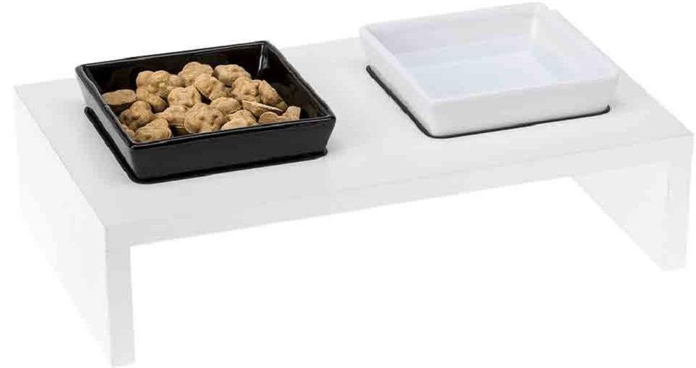 ferplast 70010399 Ferplast Maki Деревянная подставка с керамическими мисками, 40х21х13 см