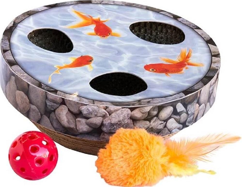 petstages pt67744 Petstages Hide & Seek Wobble Pond Интерактивная игрушка с когтеточкой, 23 см