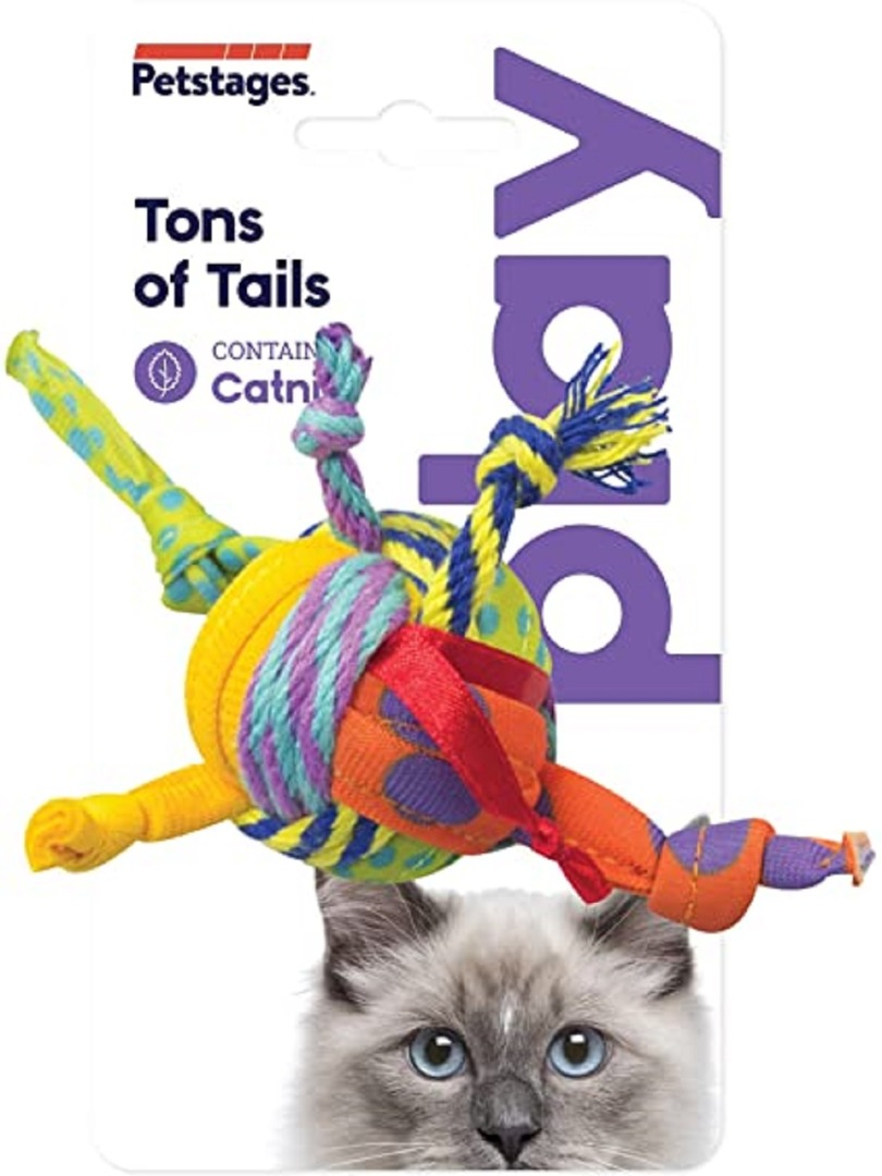petstages pt310 Petstages Catnip Tons of Tails Мячик с лентами, 11,4 см