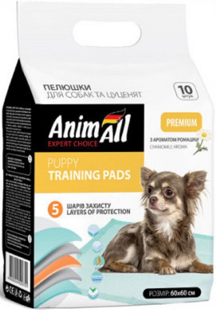 animall 500744 AnimAll Puppy Training Pads с ароматом ромашки для собак и щенков 60х60, 10 шт